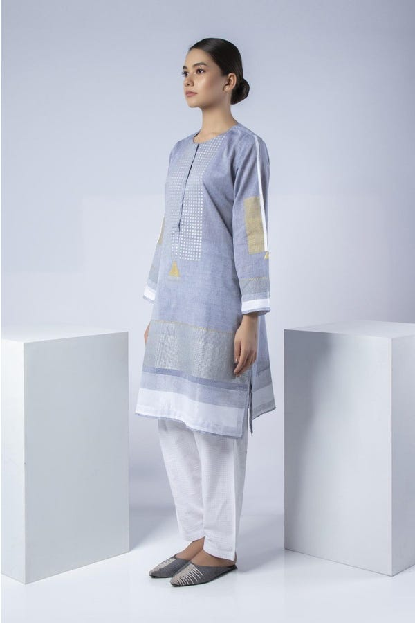 Handwoven cotton with hand block print