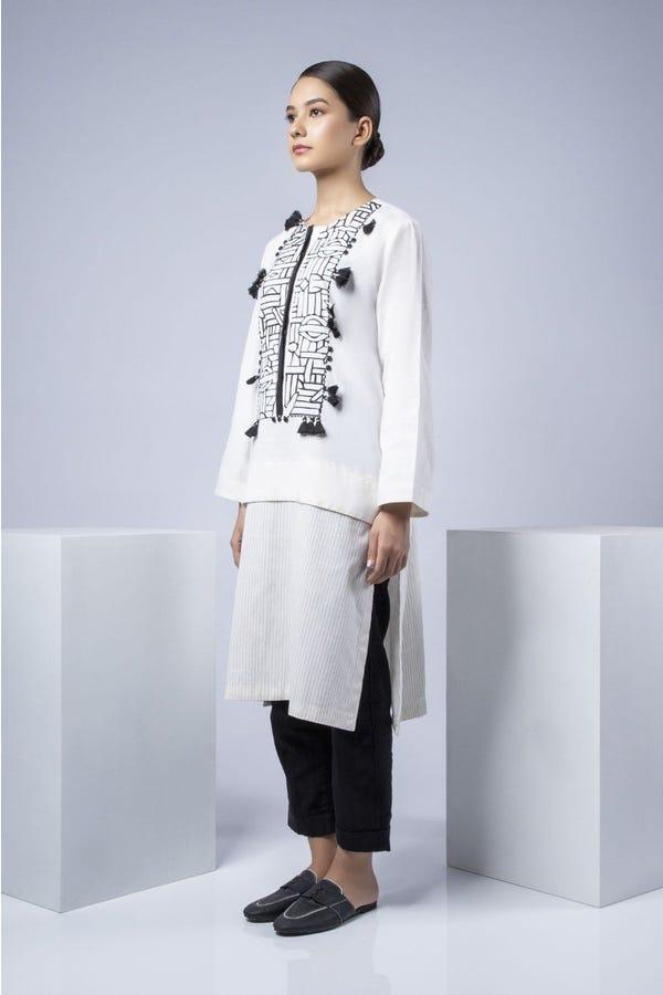 Off White Embroidered Kurta