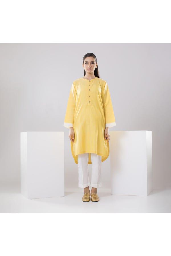 Handwoven light yellow cotton kurta